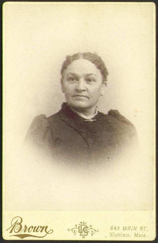 Laura Ann Adams cabinet card Brown: Waltham MA 1893