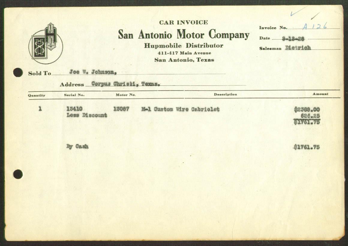 1928 Hupmobile Invoice San