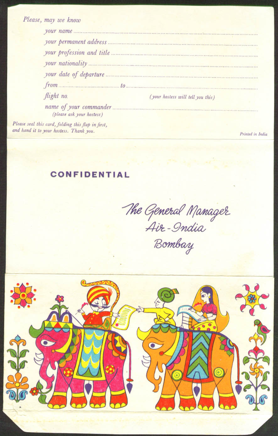 Air India Passenger Commentary Mailer 1950s