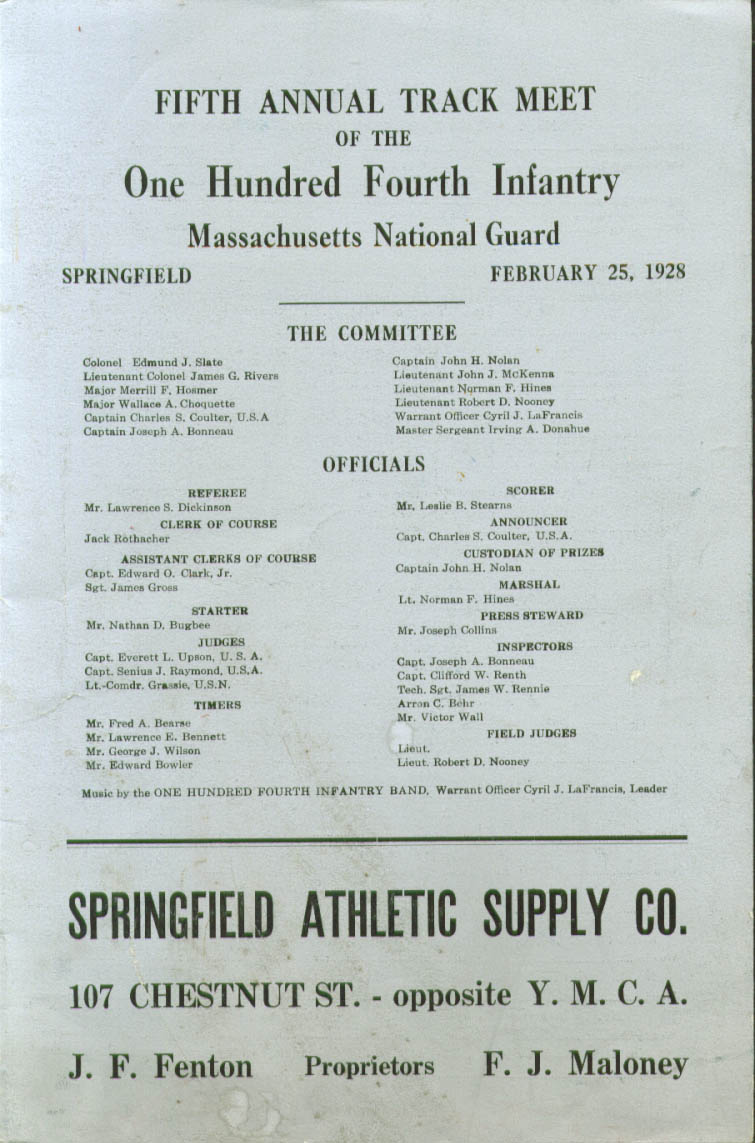 104th Infantry Track Meet Program Springfield MA 1928