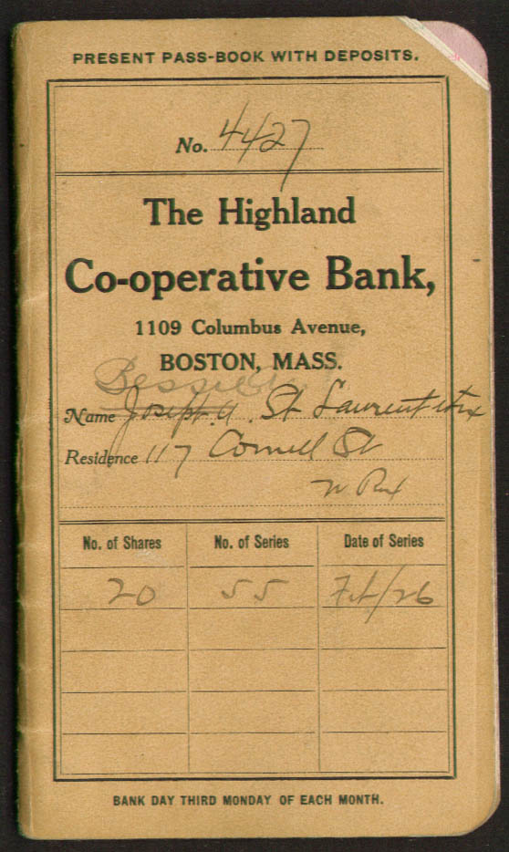 Highland Co-operative Bank passbook Boston MA 1926-37