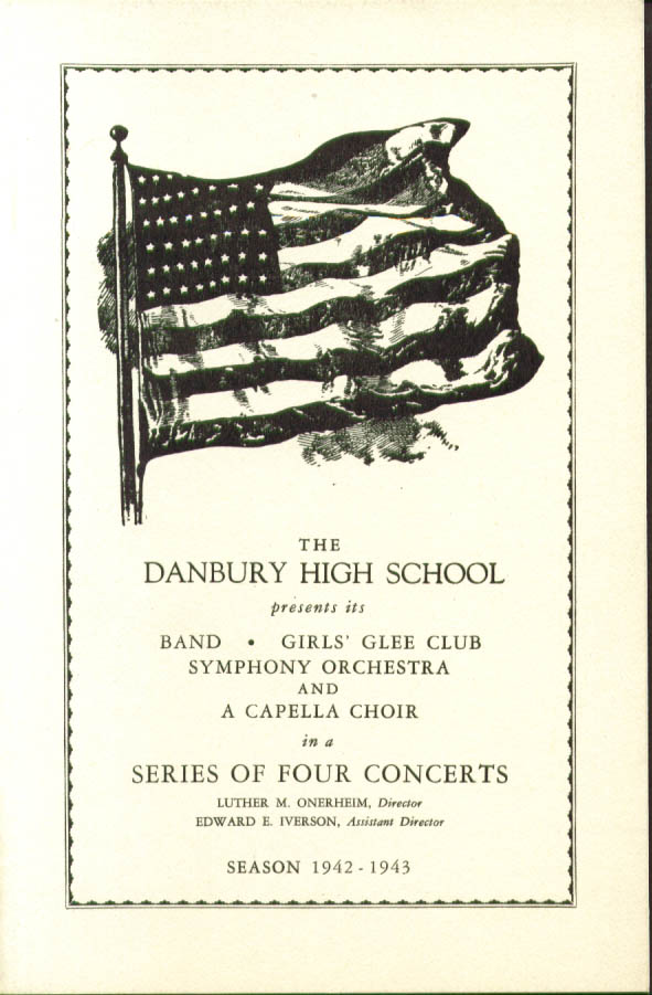 Danbury High School Concerts Program 1942-1943 CT