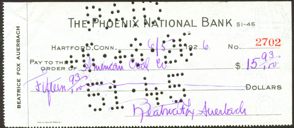 Beatrice Fox Auerbach American Coal check Hartford 1926 Phoenix National Bank