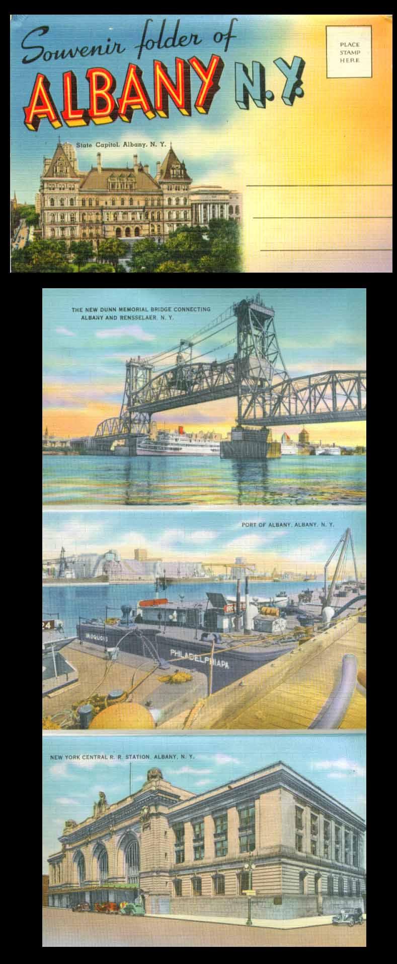 Albany NY postcard folder Kings Fountain State Street