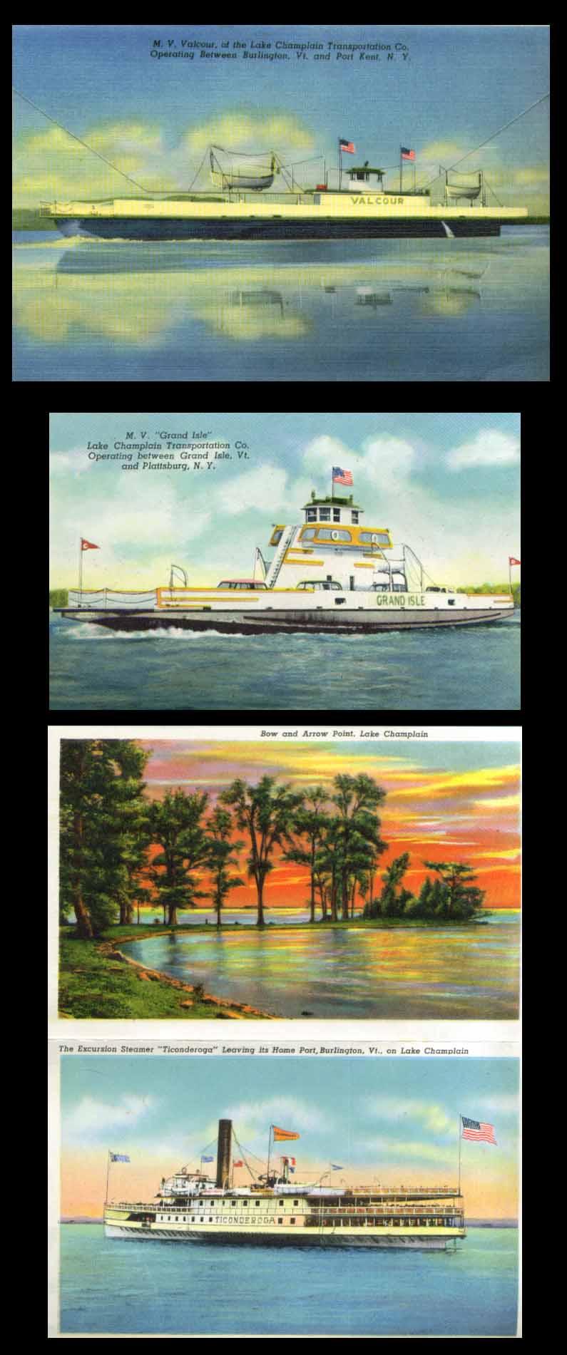 Lake Champlain VT NY postcard folder 1952 Grand Isle