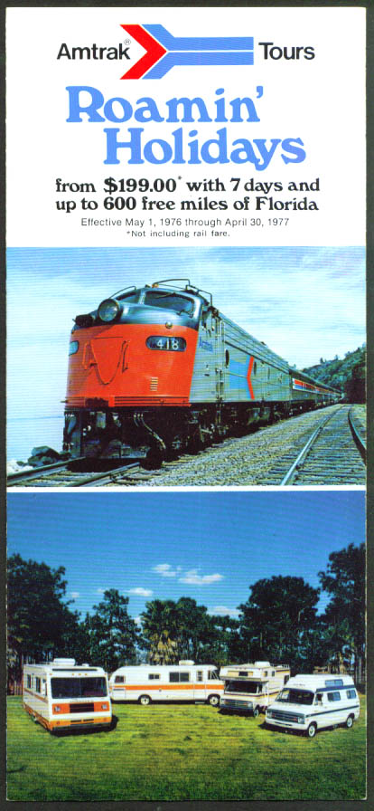 Amtrak Roamin' Holidays folder Florida 1976-1977
