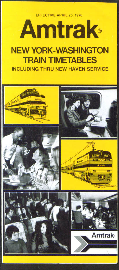 Amtrak New Haven-NewYork-Washington timetables 1976