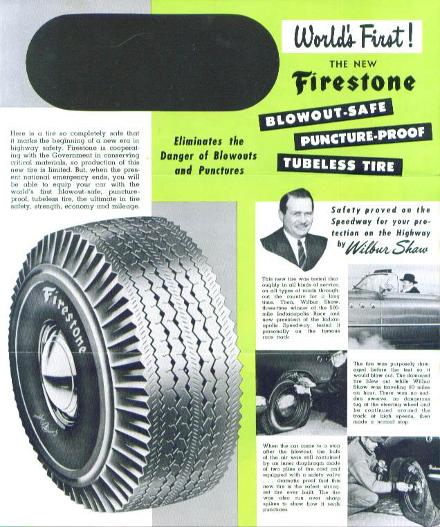 Firestone Tire Stock Transfer advertising wrapper 1949