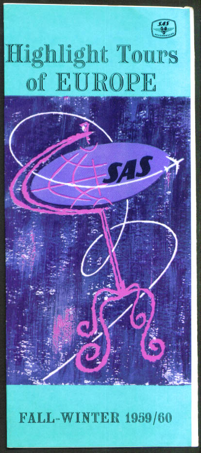 SAS Airlines Highlight Tours Europe 1959-1960 booklet
