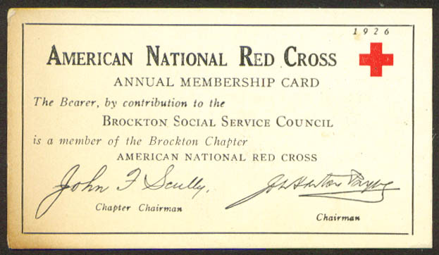 American Red Cross 1926 Membership Card Brockton MA