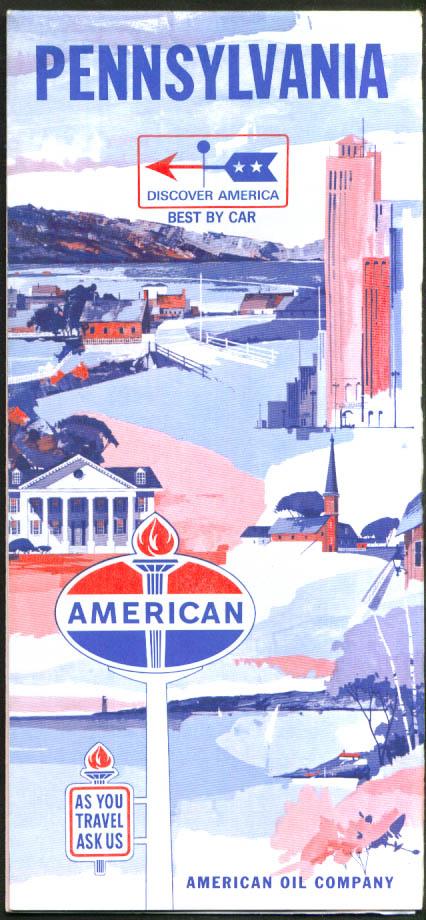 American Oil Gasoline Road Map Pennsylvania 1966