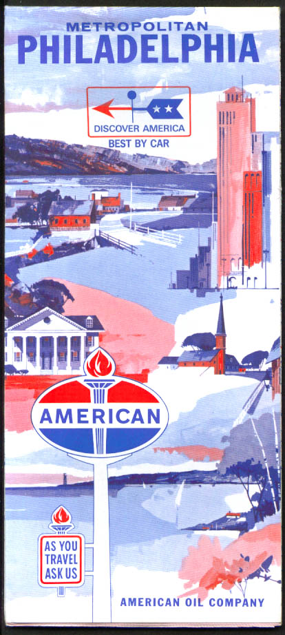 American Oil Gasoline Road Map Metro Philadelphia 1966