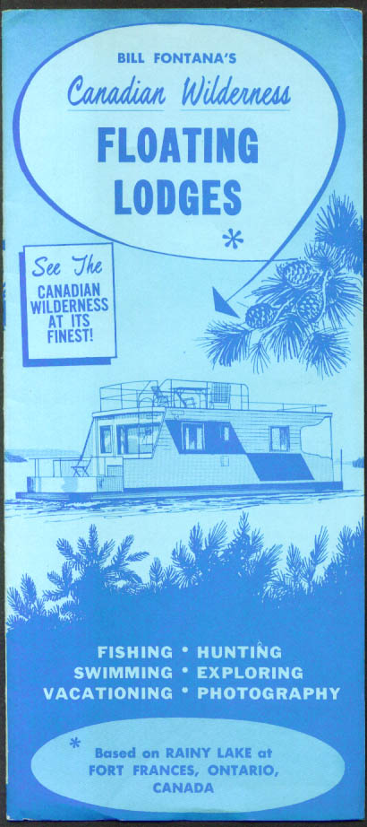 Bill Fontana's Floating Lodges Rainy Lake ON folder 1950s