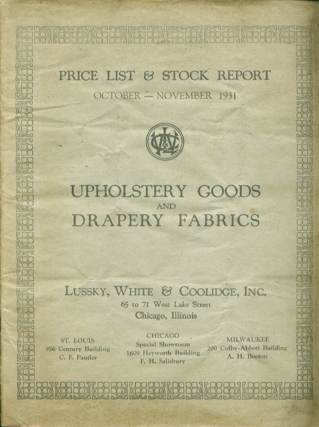 Lussky White & Coolidge Upholstery Good Price List 1931