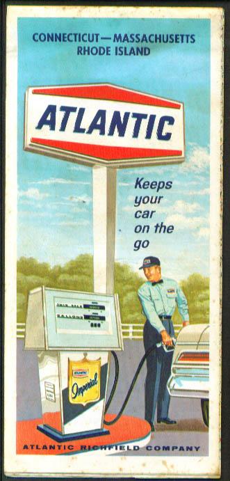 Atlantic Gasoline Road Map Connecticut Massachusetts Rhode Island 1967