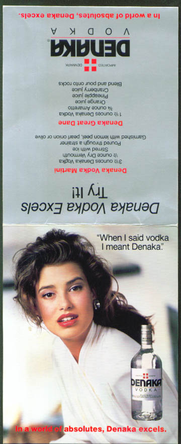 Denaka Vodka advertising tent card 1988