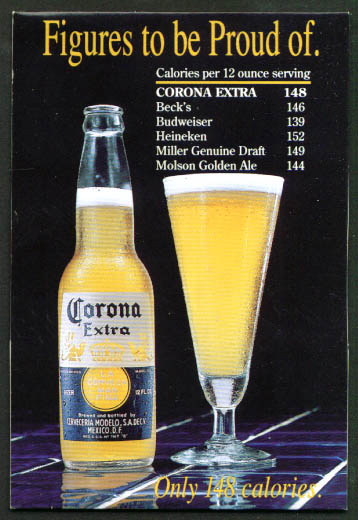Figures to be Proud of Corona Beer tent card 1988
