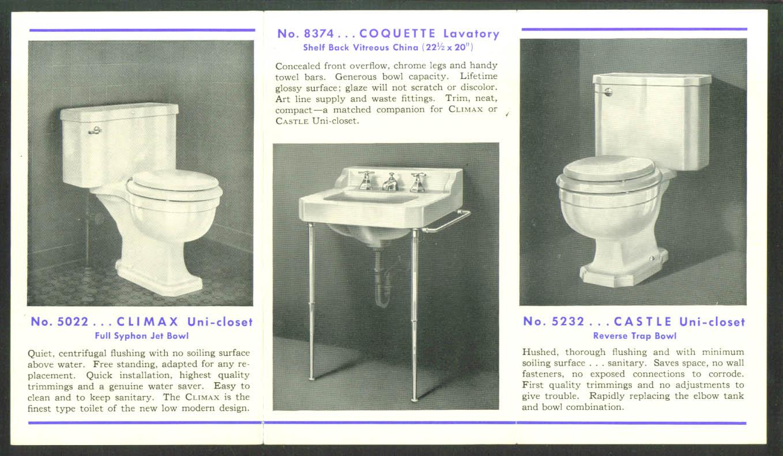 Universal Sanitary Colonial Unit-Cast Toilet folder FHA New Castle PA 1930s