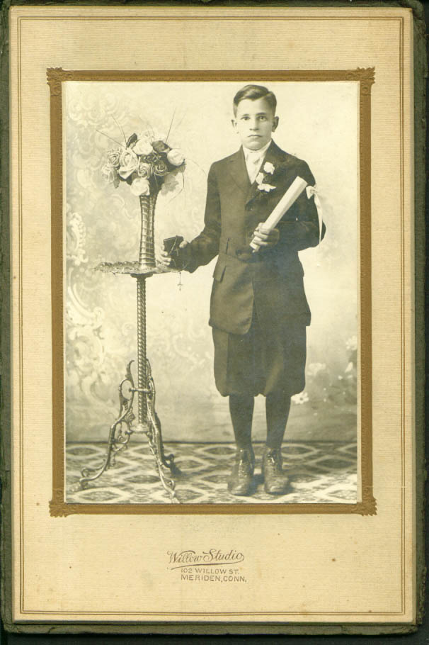 1st Communion Boy photo Willow Studio Meriden CT 1910s