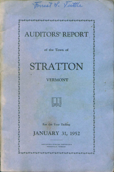 Stratton VT Auditors' Report Year ended 12/31/1952