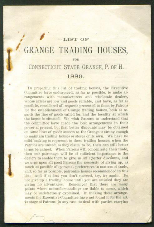 CT Connecticut Grange Trading Houses List 1889