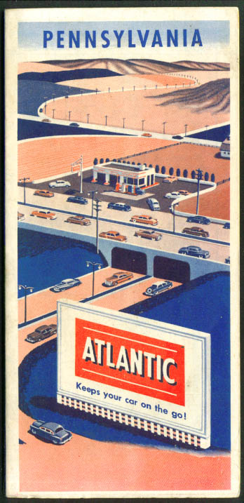 Altantic Gasoline Road Map Pennsylvania 1955