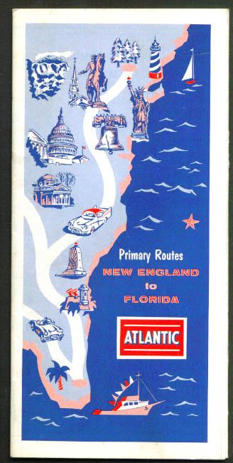 Atlantic Gasoline Primary Routes New England-Florida 1957