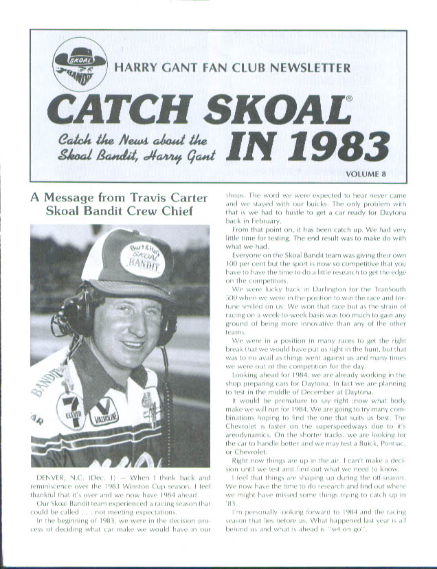 Harry Gant Fan Club Newsletter #8 1984
