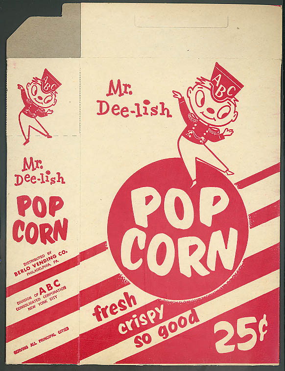 ABC Mr Dee-lish Pop Corn cardboard container 1950s?