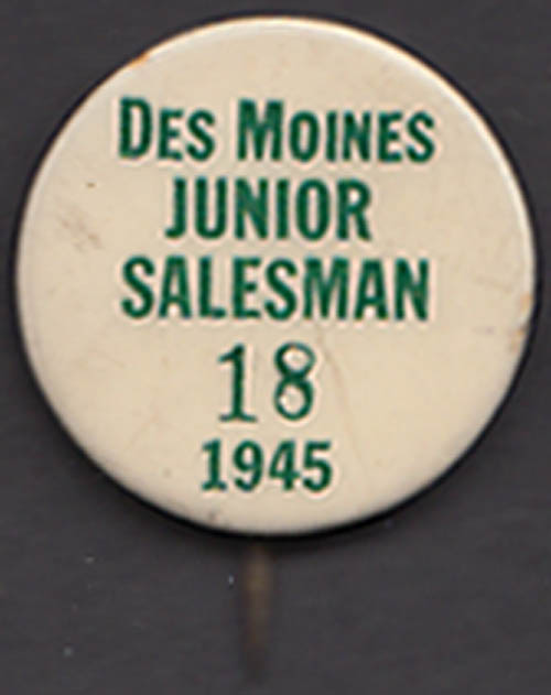 Des Moines Junior Salesman pinback button 1945