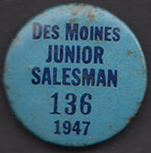 Des Moines Junior Salesman pinback button 1946
