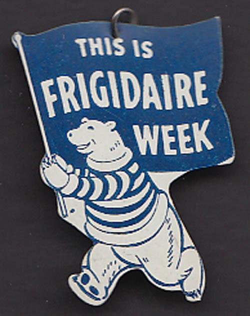 This is Frigidaire Week polar bear advertising pin 1940s