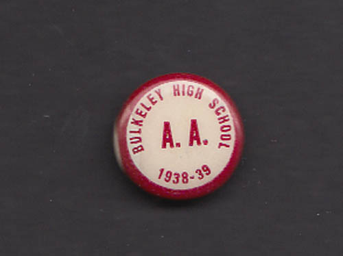 Bulkeley High Athletic Association pinback 1938-39 Hartford CT