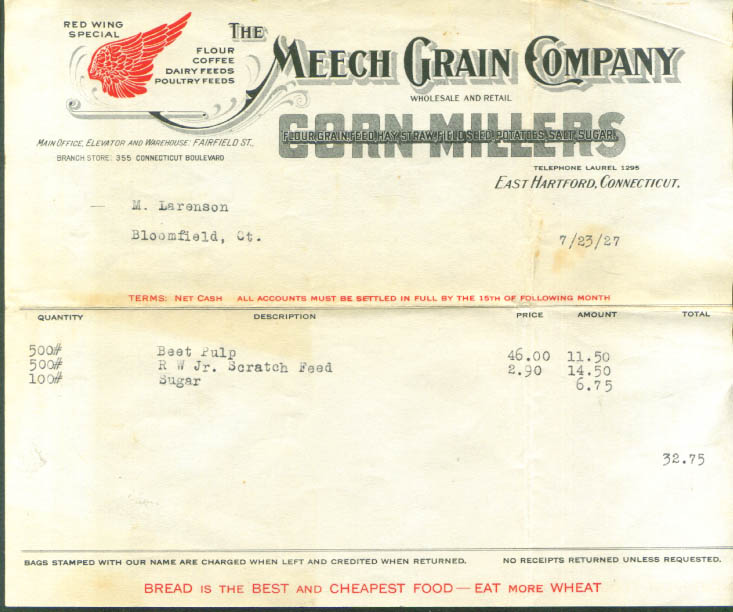 Meech Grain East Hartford CT beet pulp invoice 1927