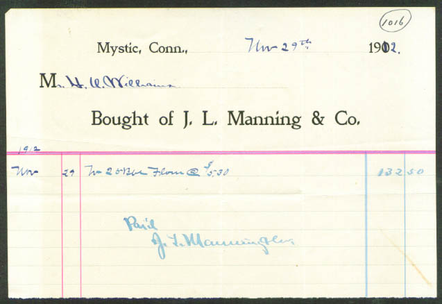 J L Manning Mystic CT invoice barrel of flour 1912