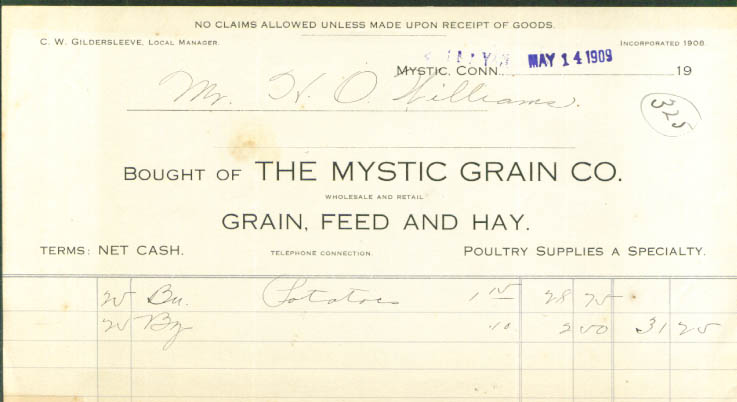 Mystic Grain CT invoice for potatoes 1909