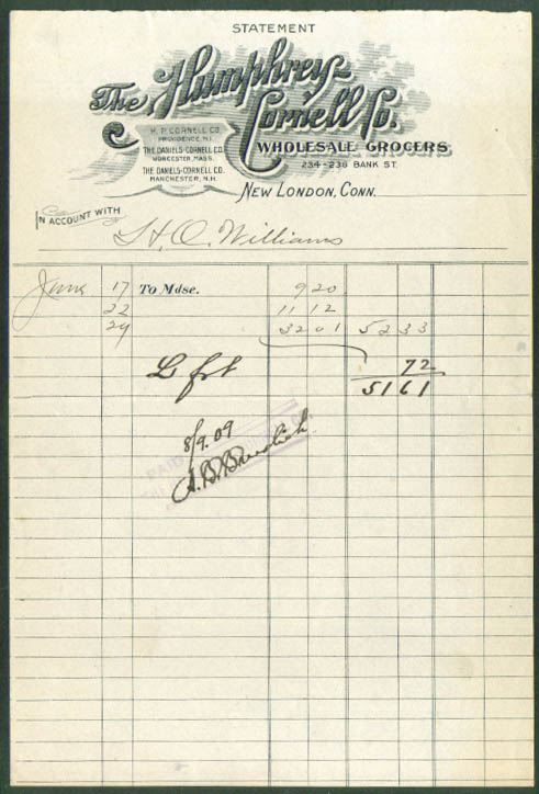 Humphrey-Cornell Grocers statement New London CT 1909