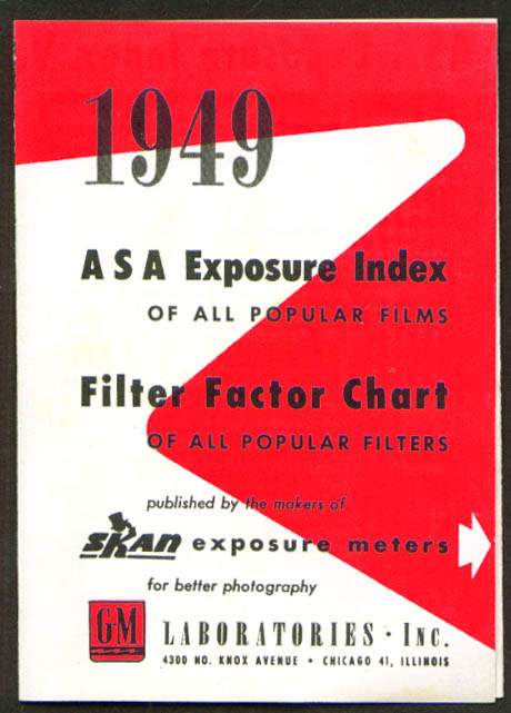 GM Skan Exposure Meter ASA Index 1949 folder