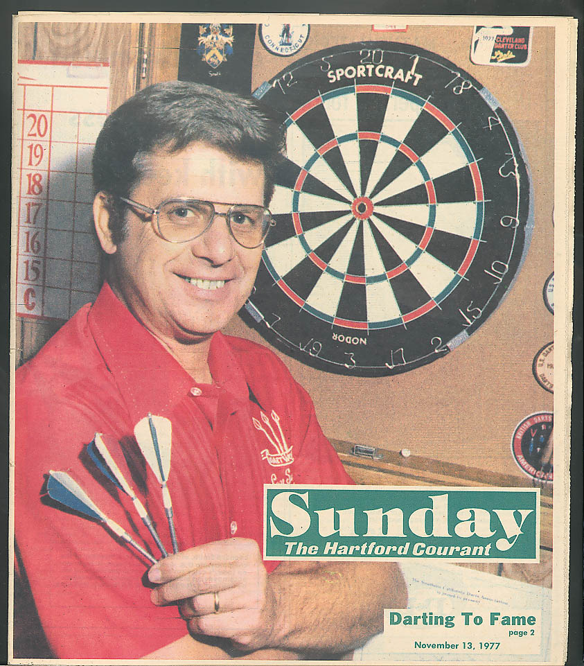 Darts champ Ebony Horsemen Courant Sunday 11/13/77