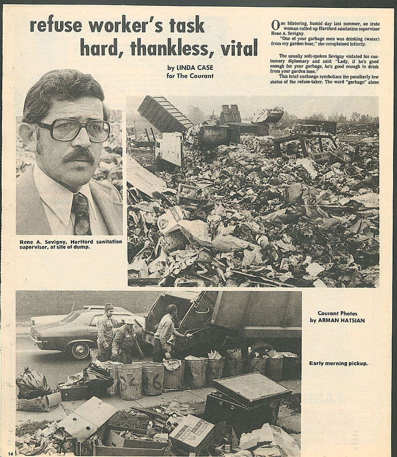 SUNDAY Hartford Courant Garbageman Rene Sevigny 12/4 1977