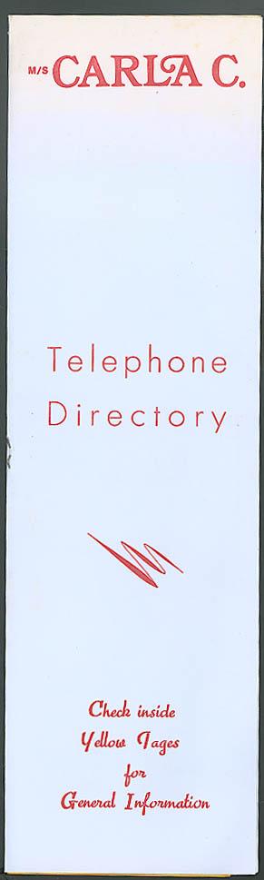 Costa Line M S Carla C Telephone Directory 1979