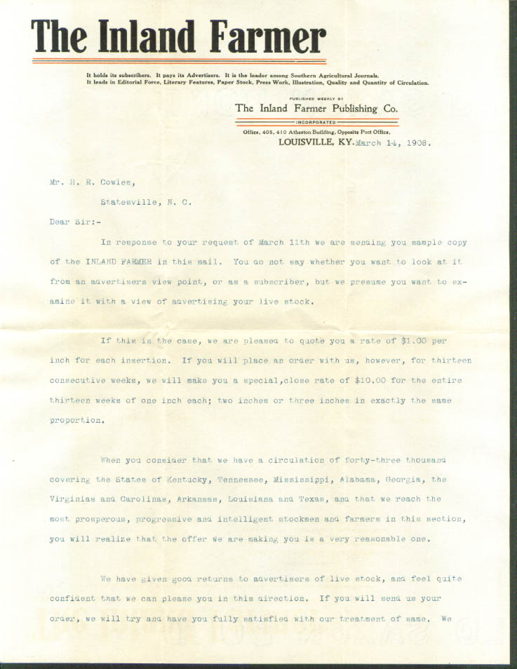 Inland Farmer Louisville KY subscriber letter 1908
