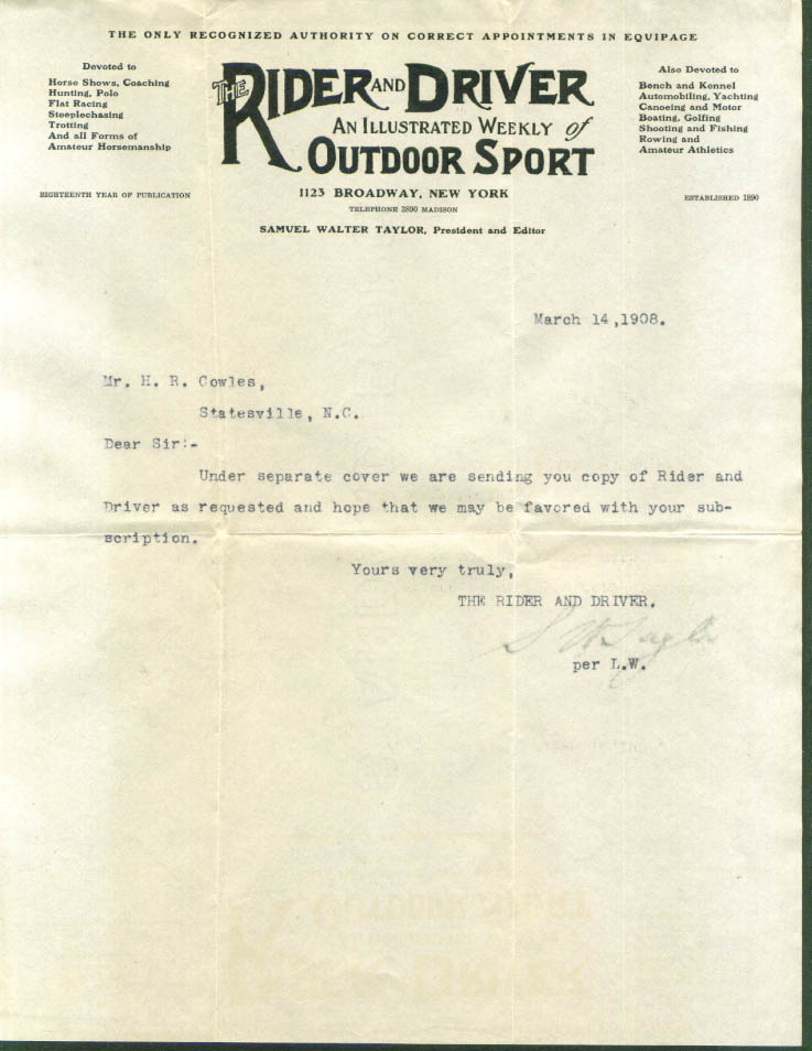 Rider & Driver Weekly Equipage subscriber letter 1908