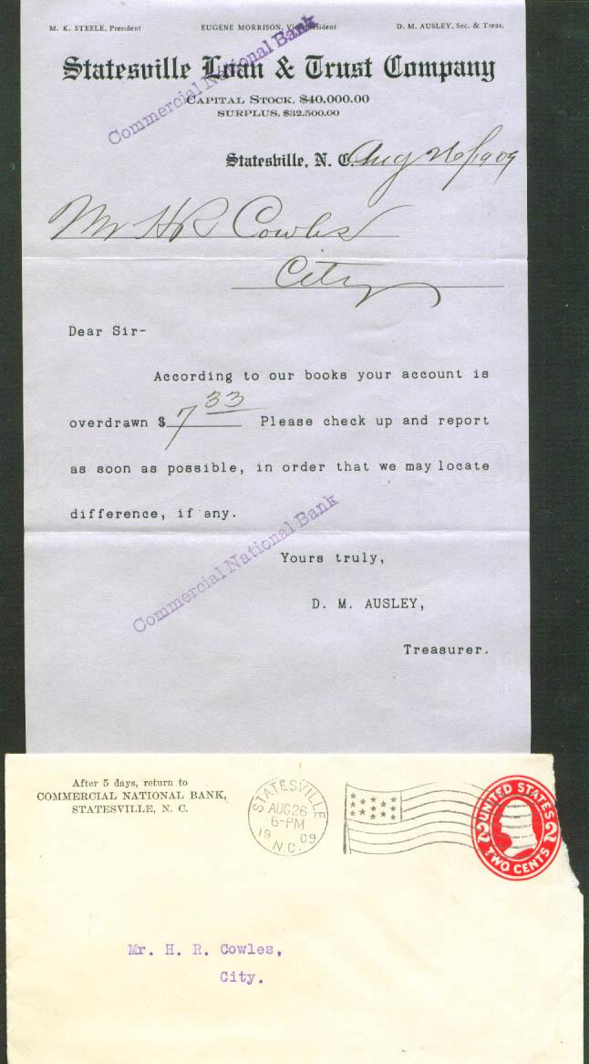 Statesville Loan & Trust overdraft letter 1909 NC
