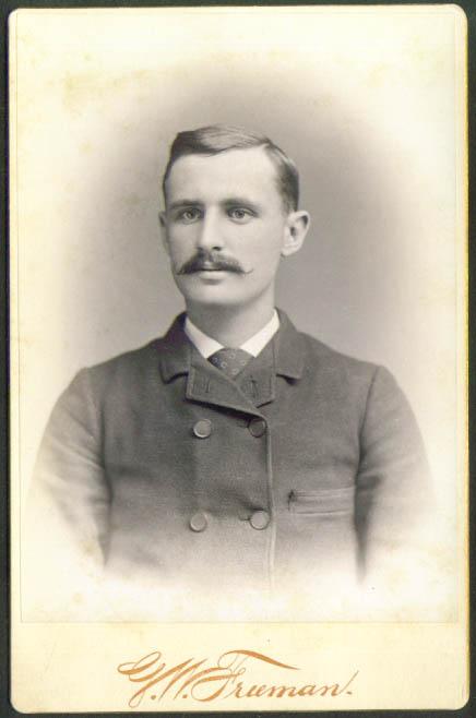 Waxed mustache cabinet card G W Freeman Charlestown MA