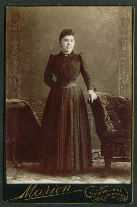 Standing round-face woman cabinet card Marion Lowell MA