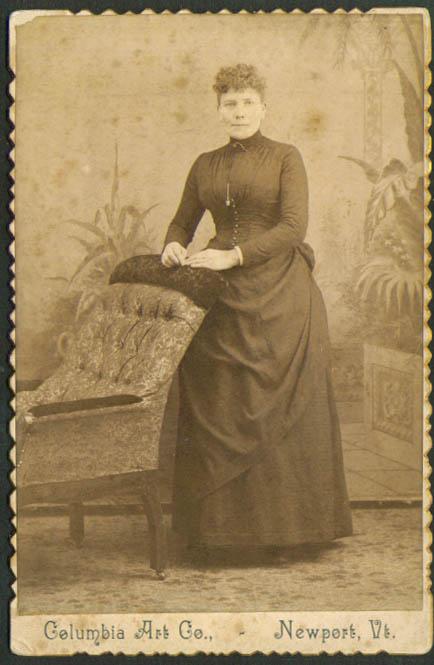 Woman brocade chair cabinet card Columbia Newport VT