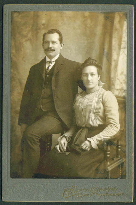 Mustache man & wife cabinet card Ollivier's Brooklyn NY