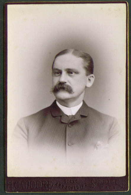 Bushy mustache cabinet card H C Moore Springfield MA
