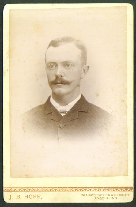 Unwaxed mustache cabinet card J B Hoff Angola IN